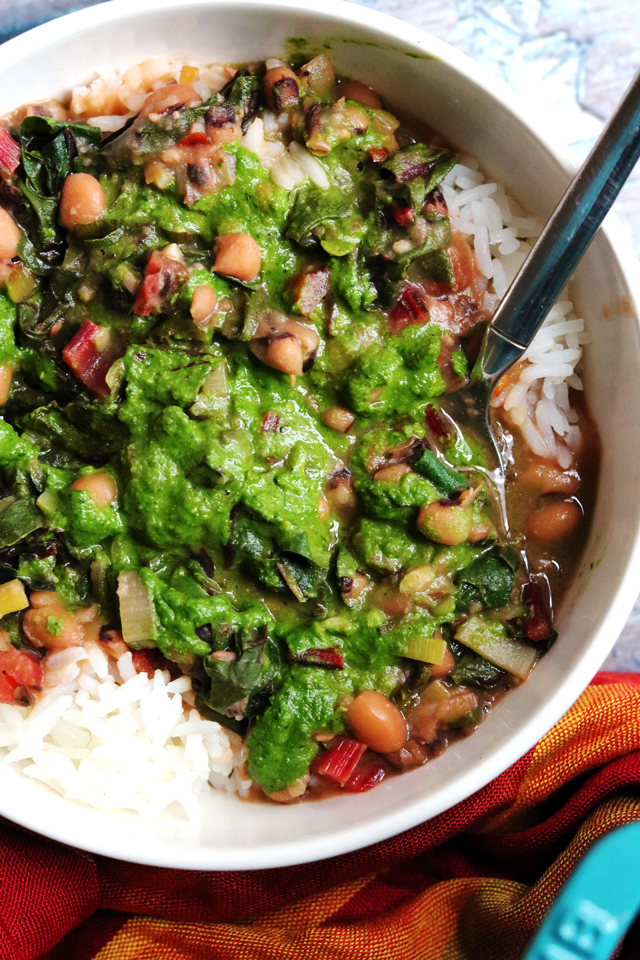 Black-Eyed Pea Stew with Green Herb Smash from Eats Well With Others