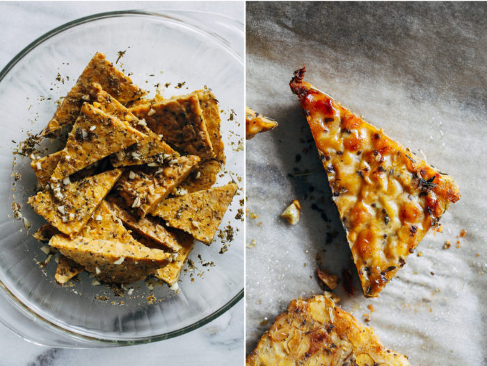 Garlic Herb Baked Tempeh- all you need is 6 ingredients to make this healthy and flavorful vegan main dish. (gluten-free with soy-free option)