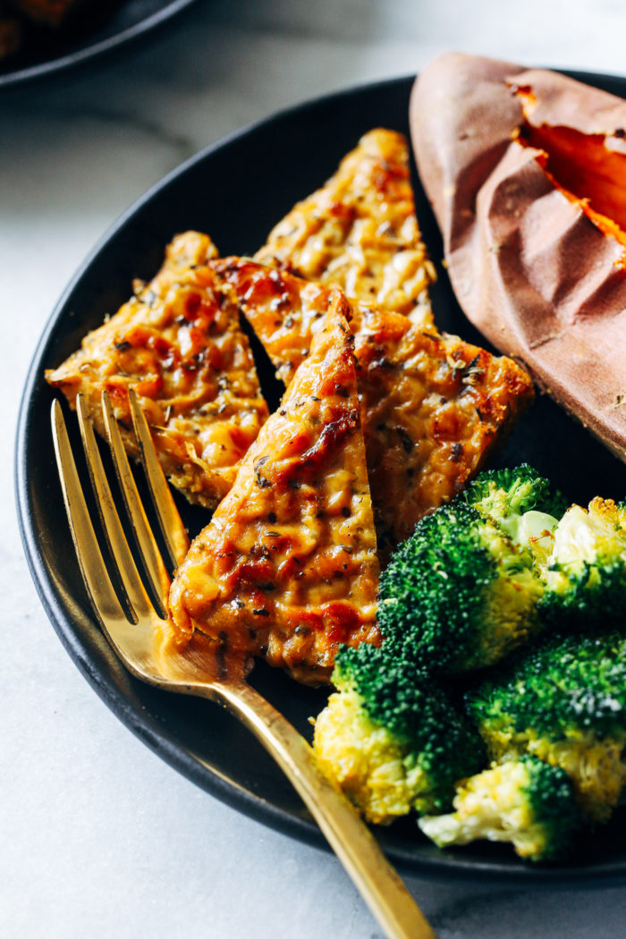 Garlic Herb Baked Tempeh from Making Thyme for Health