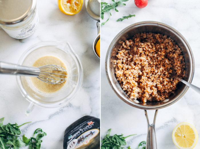 Spring Farro Bowls with Lemon Tahini Dressing- made with lightly steamed seasonal vegetables, these farro bowls are perfect to prep for lunches or a light and easy dinner. (vegan with gluten-free option)