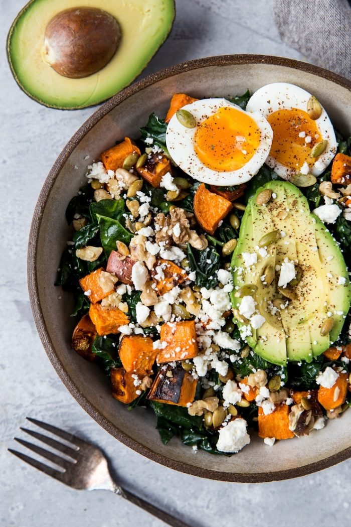 Roasted Sweet Potato Kale Salad with Avocado and Jammy Egg from The Roasted Root