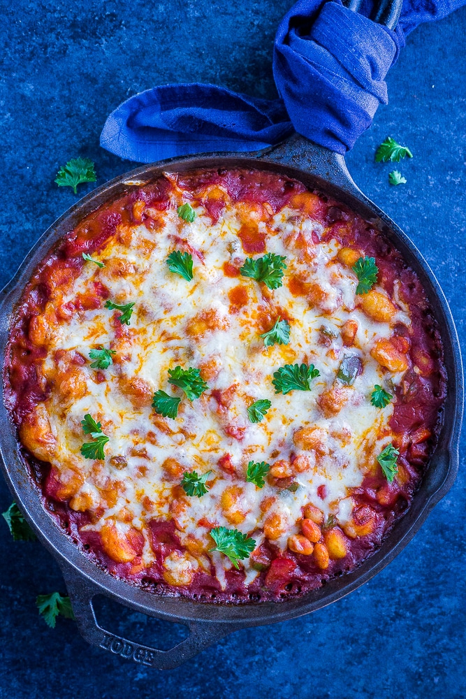 30-Minute Gnocchi Pizza Bake with White Beans from She Likes Food