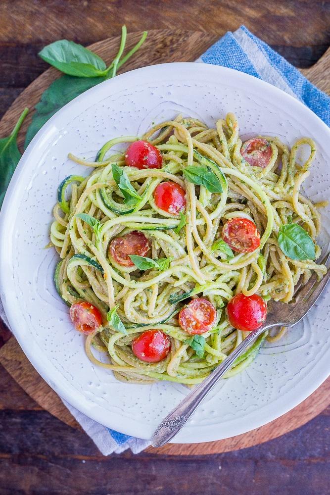 Avocado Pesto Zucchini Noodles from She Likes Food