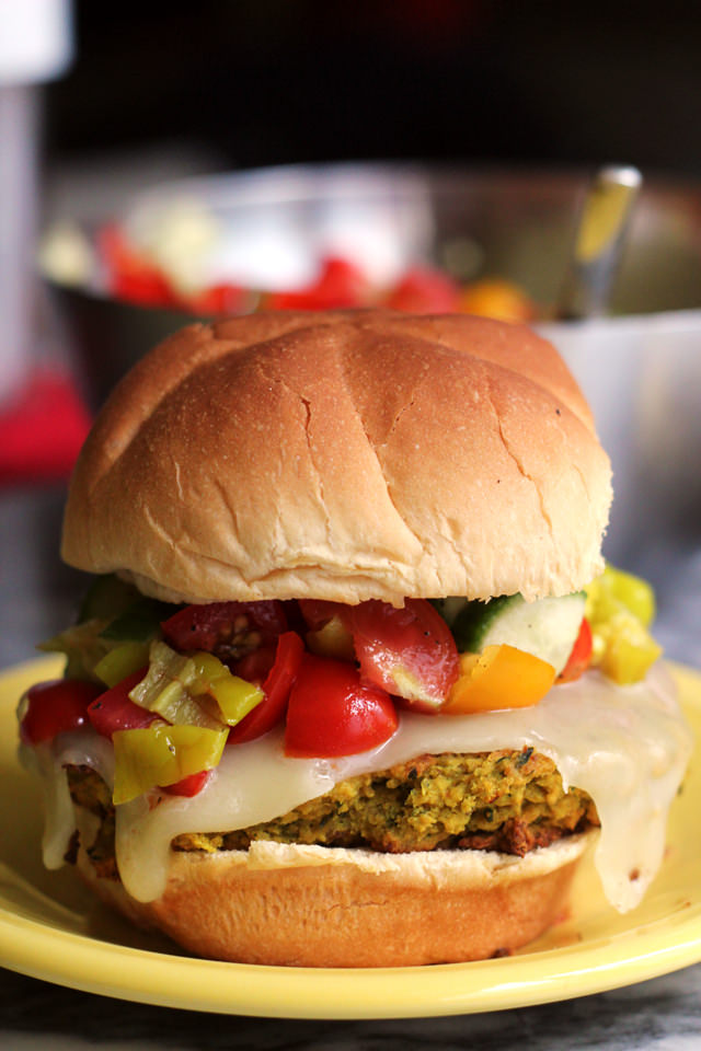 Falafel Burgers with Peperoncini Salsa from Eats Well With Others