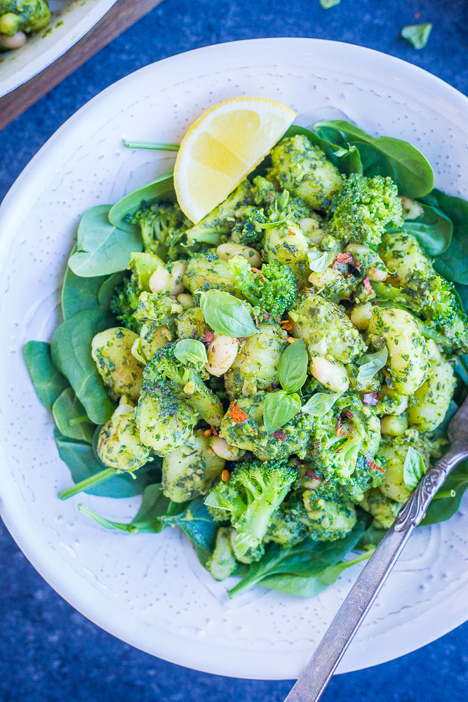 Pesto Gnocchi with White Beans and Broccoli from She Likes Food